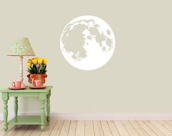 Moon vinyl Wall DECAL- Lunar space stars, sticker art, room, home decor