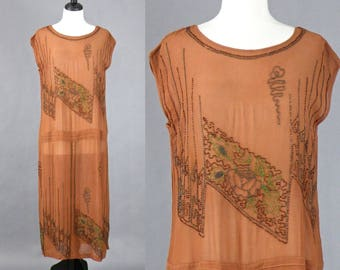 Vintage 1920s Beaded Dress, 20s Flapper Dress, Brown Silk Crepe Floral Beaded Roaring 20s Dress