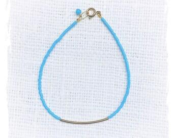 Turquoise Bracelet - Bar Bracelet - Seed Bead Bracelet - Beaded Bracelet - Curved Tube Bracelet - Xmas Gift for her
