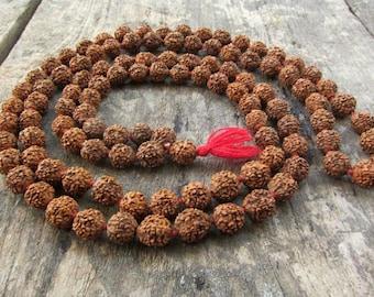 Rudraksha Mala Necklace Yoga Necklace 108 beads Meditation Necklace 10mm Healing Buddhism Shiva Beads Indian Seeds Holy Meads Prayer Beads