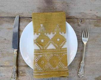 Yellow Napkin mustard SAMPLE SALE napkins cotton napkins decor table linen organic cotton Yellow tabletop shabby chic boho - Yellow Border
