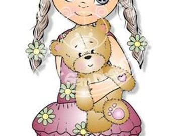Digital (Digi) Grace with Teddy Stamp. Cute Girl. Girl Birthdays. Card Making. Paper Craft. Digital Scrapbooking. Invitations
