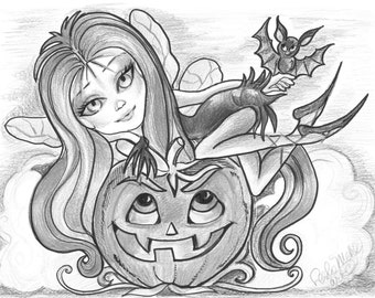 Adult Coloring Page- Greyscale Coloring Page- Printable Coloring Page- Digital Download -Halloween Fantasy Art-Vamperella by Leslie Mehl Art