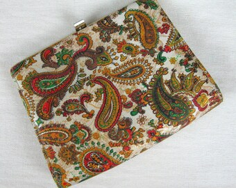 Vintage 1950s Purse 50s Paisley Lame Evening Handbag or Clutch