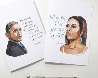 Set of two cards, Michelle and Barack Obama, portrait and Inspiring quote, 5x7 card, Ready to Ship