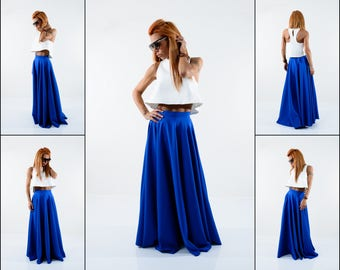 Maxi Skirt, Pleated Maxi Skirt, Long skirt, Blue Skirt, High Waisted Skirt, Boho Skirt, Circle Skirt, Plus Size Maxi Skirt, A Line Skirt