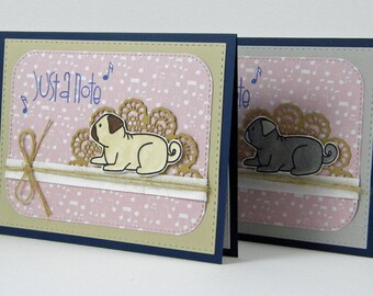 Pug Note Card,  Pug Greeting Card, Pug Card, Pug Just a Note Card