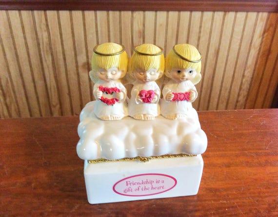 Vintage angels trinket box Gourmet Gifts Hallmark hinged