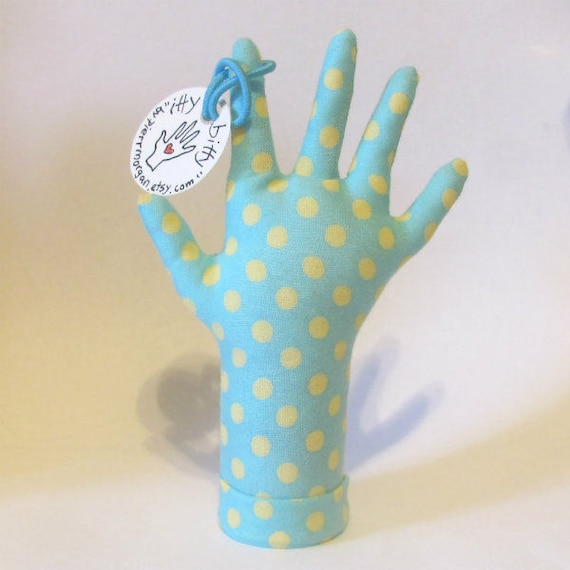 itty bitty Yellow Polka Dotty HAND-Stand ~ Baby Ring Teething Necklace Holder ~ Ready to Ship