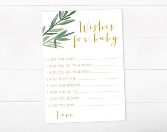 Baby Shower Game, Wishes For Baby, Tropical Baby Shower, Watercolor (390)