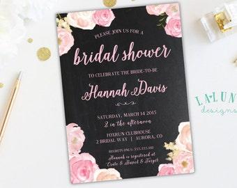 Bridal Shower Invitation, Floral Bridal Shower Invitation, Floral Bridal Shower, Chalkboard Bridal Shower Invite