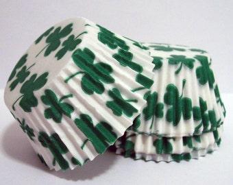 Green Shamrock Cupcake Liners- Choose Set of 50 or 100