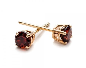 1 carat garnet stud earrings-Red garnet-Handmade garnet stud earrings-14 k Yellow gold earnings-Gift idea for her-Christmas gift-For her