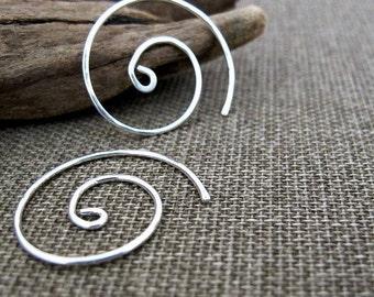 Sterling Silver Spiral Hoop Earrings. Small Modern Swirl Earrings. Minimal Elegance Earring. Handmade Jewelry - Swirl Hoops - Silver Jewelry