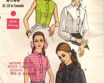 Vogue 7374 Fitted Blouses Front Band VINTAGE 1960s Bust 34  ©1968