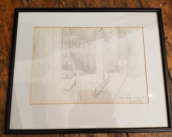 Vintage Original Pencil Drawing of Edinburgh Scotland Street Framed Matted and Signed by Artist