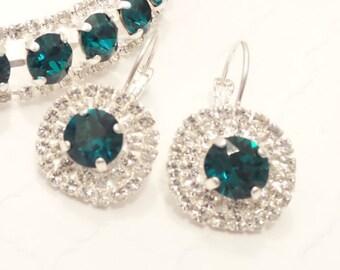 SWAROVSKI CRYSTAL EARRINGS, halo crystal, emerald, green, bridal, 8mm, stunning,dksjewelrydesigns