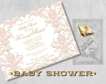 Pink and Gold Damask Baby Girl Shower Invitations - Custom Elegant Baby Shower for a Girl - Printed Invitations