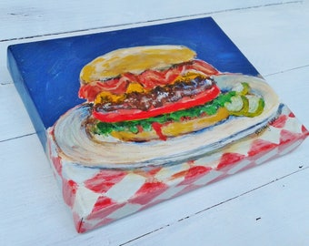 Hamburger painting, Hamburger art, American food, 6x8 inches, original art, Kitchen art, Restaurant art, Comfort food art, Shirley Lowe