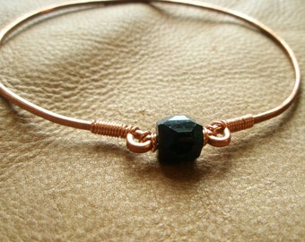 Simple Black Beaded Hammered Eco Friendly Copper Bangle Bracelet
