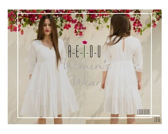 Organic Long Sleeve White Dress, Bohemian Dress, Loose Dress, White Maxi Dress, Long White Dress, Bohemian Chic, Womens Dresses, Midi dress