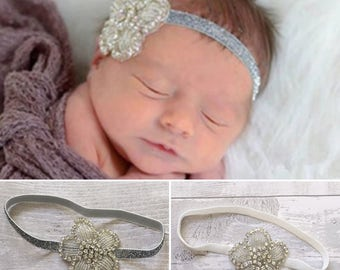 Baby Rhinestone Headband, Baby Headband, Rhinestone flower Headband, Elastic Headband, Newborn headband, Baby Shower Gift, Girl Headband