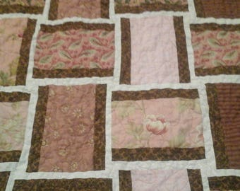 shabby chic pink, brown and cream quilt