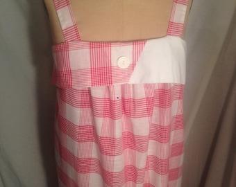 Vintage 80s Nu Venture Plaid Tank Dress Size 13/14