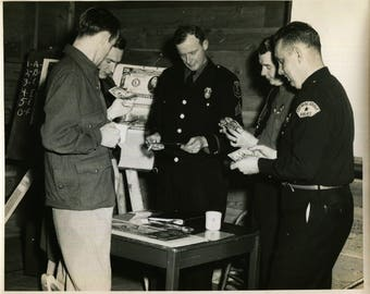 Vintage Large Format Photo of Eugene Police and Cottage Grove Police with Counterfeit Money, 1950's Original Found Photo, Vernacular Photo