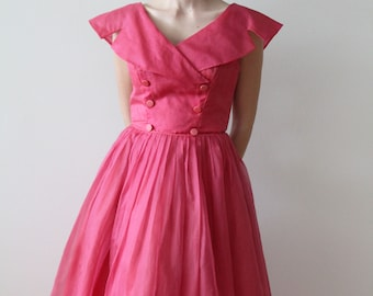 Vintage 1950s Hot Pink Silk Party Dress Sold As Is