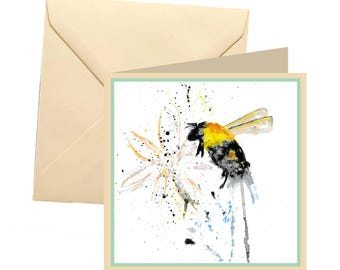 Bee greetings card, blank card, greetings card, birthday card, note card, thank you card, bee thank you card, bee birthday card