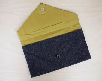 Wool Envelope Clutch Purse in Charcoal Gray with Mustard Yellow Lining / Wool Clutch / Gray Clutch / Snap Clutch