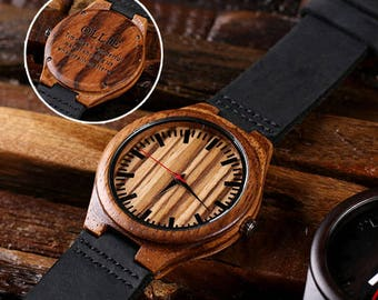 Engraved Wood Watch Personalized Custom Bamboo Leather Straps Gift for Men, Dad, Father's Day Groomsmen Watch