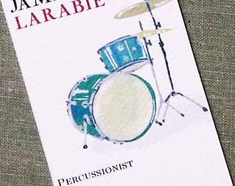 Personalized business card with Drum Set - Set of 50