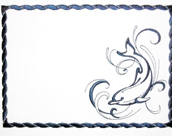 Dolphin embroidered quilt label to customize with your personal message