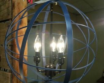 Last TWO!!!! Metal orb chandelier fixture *** (3 light)You choose finish color!