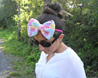 big bow headband|  bow tie headband|  crochet bow headband|  statement headband