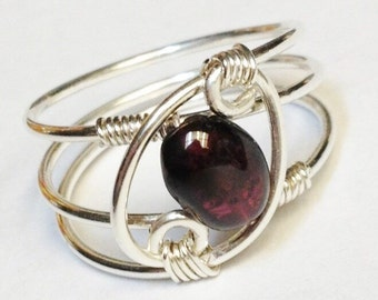 Garnet Ring  Garnet Jewelry  January Birthstone Sterling Rings for Women  Silver Ring  Rings  Sterling Silver