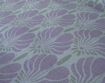 Linen tablecloth natural lilac flowers Scandinavian Design Eco Friendly , napkins placemats runners pillows curtains available, eco GIFT