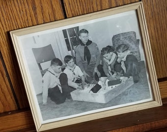 Mid-Century Black and White Boy Scouting Photo / Framed 8x10 Picture of Scouts / Vintage Ephemera in Blond Wood Frame