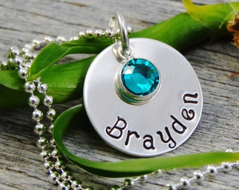Hand Stamped Jewelry - Personalized Jewelry - Mom Necklace - Sterling Silver Necklace - One Name One Birthstone