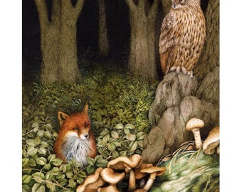 Brown Owl and Fox in forest print.