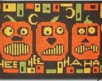 PDF E pattern emailed Halloween Pumpkin Cross Stitch Pattern Sampler 7 *