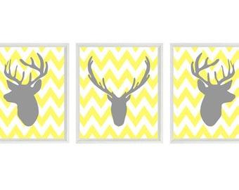 Deer Wall Art Print - Silhouette Gray Yellow Chevron Decor Buck Antlers - Rustic Nature Wildlife - Wall Art Home Decor Set   Prints