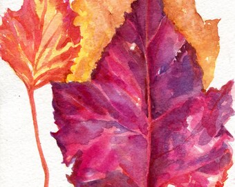 Autumn Leaves Watercolor Painting, fall painting, leaf watercolor art painting, autumn art 5 x 7 colorful fall leaves watercolor art