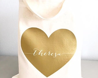 Custom tote bags - Bridesmaid tote bags - Tote bags - Large gold heart tote bag - Bridesmaid gifts