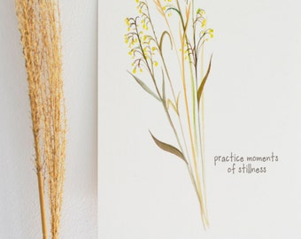Practice Stillness - Watercolor Art Print - 5x7 - prairie, botanical, summer, stillness, calm