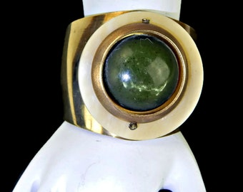 Wide Brass Cuff Bracelet with Marbled Green Chunky Cabochon