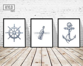 "Nautical Print Set 3 of 11x14"", Nautical Poster, Sailing Print, Nautical Illustration, Nautical Wall Art, Nautical Decor, Sailing Wall Art"
