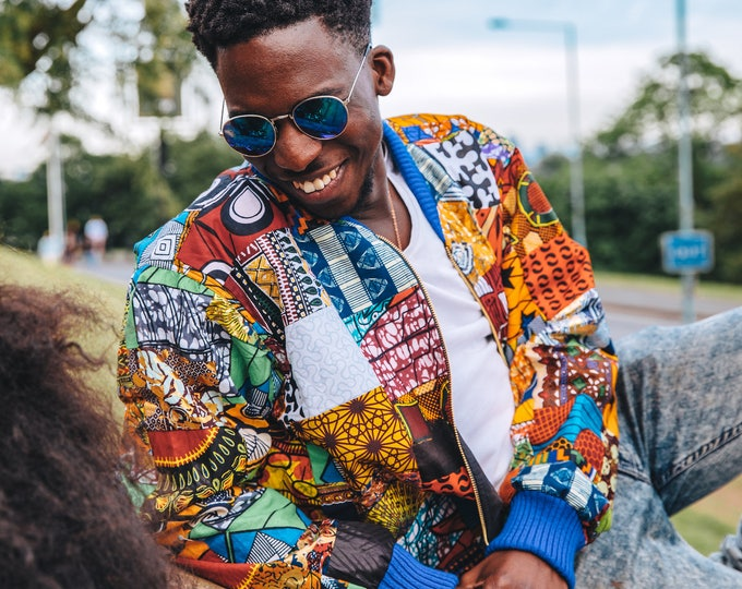 Featured listing image: Patchwork Jacket - African Print Jacket - Festival Clothing - Hamed jacket
